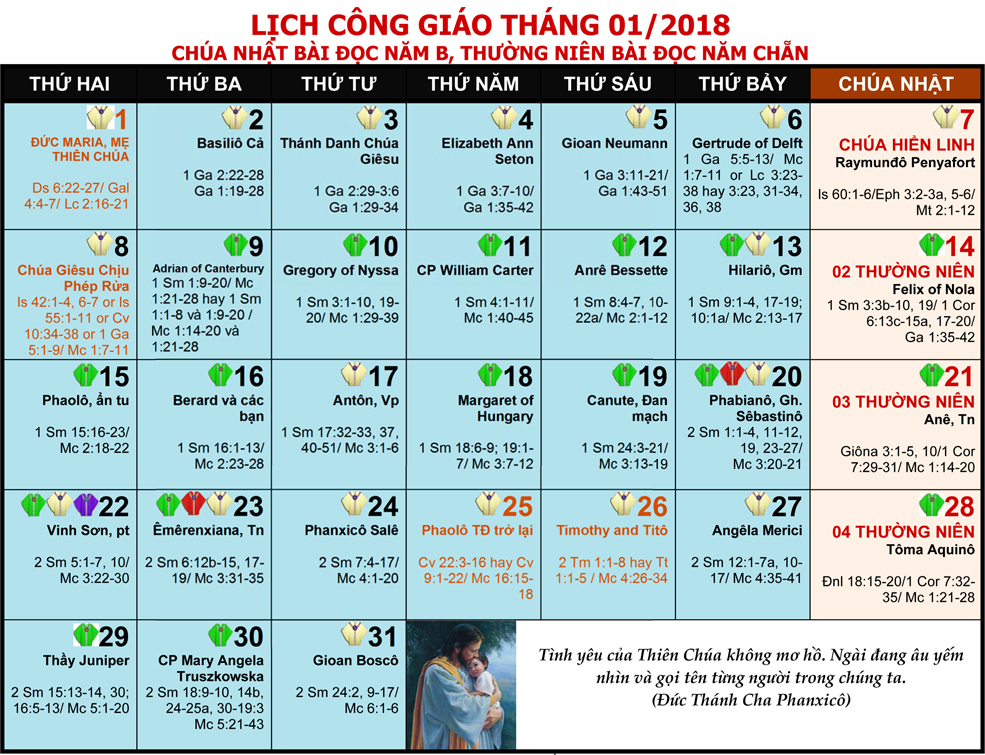 LỊCH PHỤNG VỤ